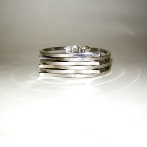 modern age industrial chrome bracelet-the remix vintage fashion