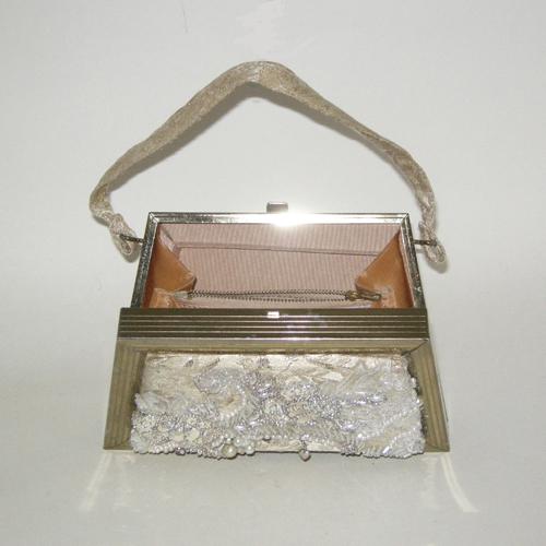 brocade box purse goldtone metallic trapezoid 50s 60s-the remix vintage fashion