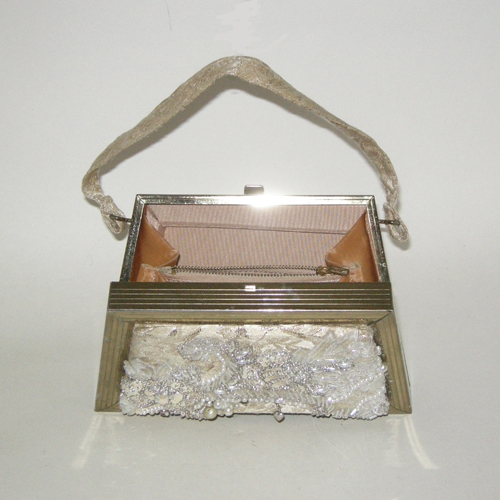 brocade box purse goldtone metallic trapezoid 50s 60s-the remix vintage fashion