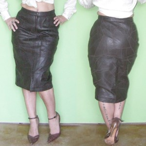 patchwork leather skirt midi 70s glenwood-the remix vintage fashion