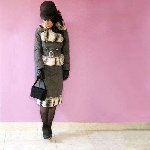 60s suit chinchilla fur trim rex rabbit-the remix vintage fashion