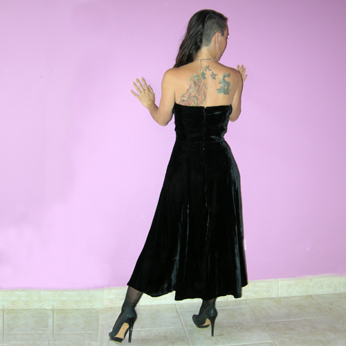 40s velvet dress strapless rhinestone embroidery-the remix vintage fashion