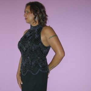 papell boutique evening top black silk beads-the remix vintage fashion