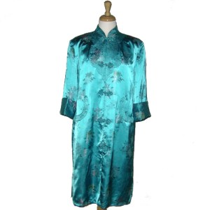 chinese jacket satin brocade blue-the remix vintage fashion