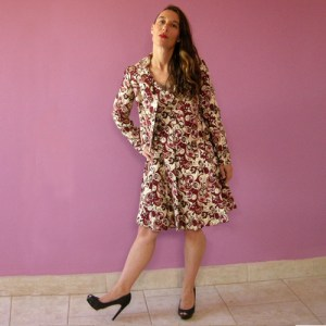 60s brocade dress jacket suit set metallic gold red-the remix vintage fashion