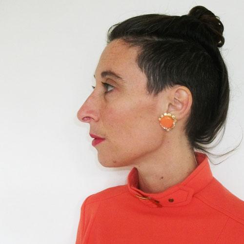 orange moonglow rhinestone earrings clip-the remix vintage fashion