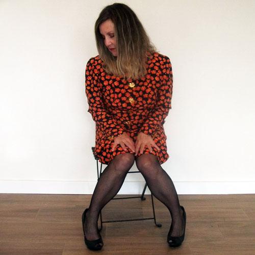 Yves Saint laurent 80s suit orange silk gold floral buttons-the remix vintage fashion