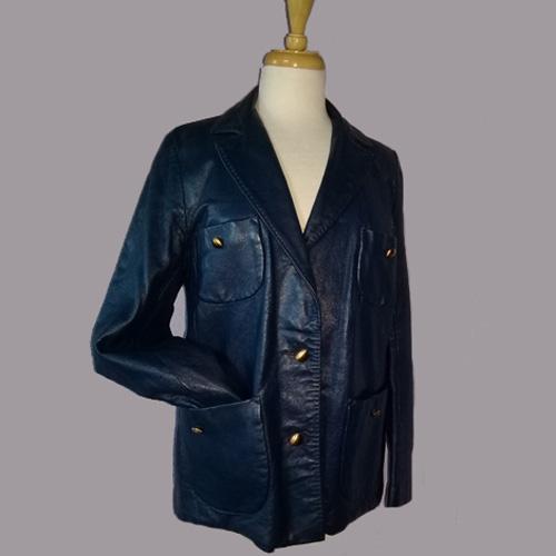 60s leather jacket womens blue lady californian-the remix vintage fashion