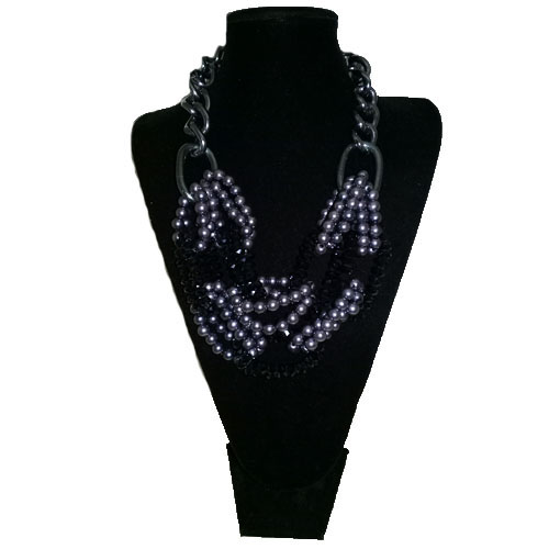 80s Bold necklace silver black beads-the remix vintage fashion