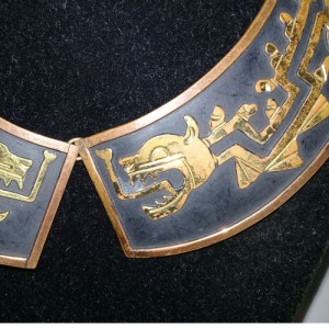 Mexico Mid Century collar Quetzacoatl mixed metals-the remix vintage fashion