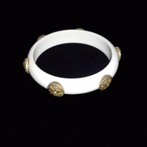 lucite bracelet medallions gold white bangle mid century 60s-the remix vintage fashion
