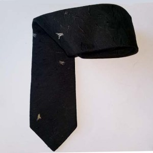 60s skinnny tie black satin brocade rat pack-the remix vintage fashion