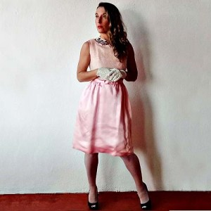pink wiggle dress 60s satin bow belt-the remix vintage fashion