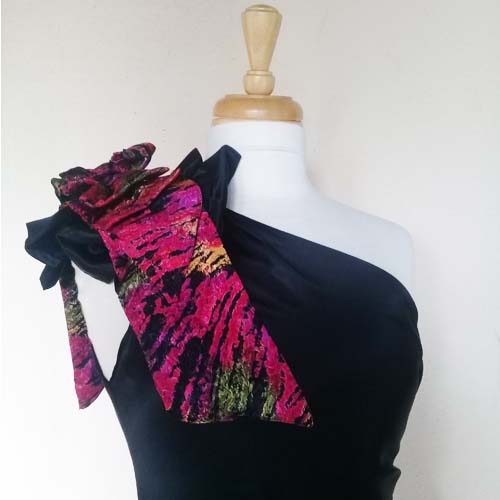 80s one shoulder dress black satin pink bow-the remix vintage fashion