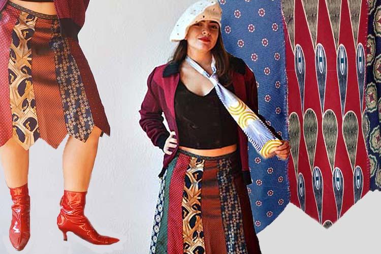 necktie skirts school girl attitude upcycle-the remix vintage fashion