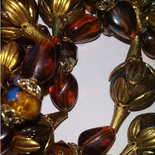 Caramel Gold Lucite Multi Strand Necklace Earring Set-the remix vintage fashion