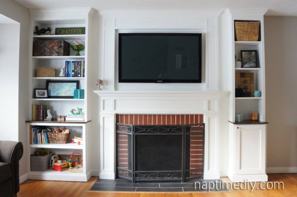 Brick Fireplace with Built-Ins