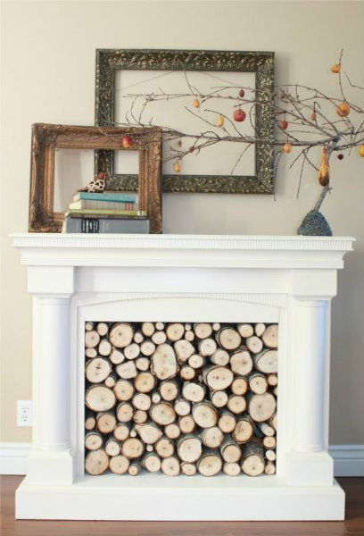 Repurposed Faux Fireplace Mantel