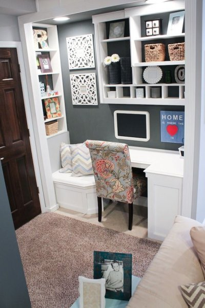 Open Gray Closet Office