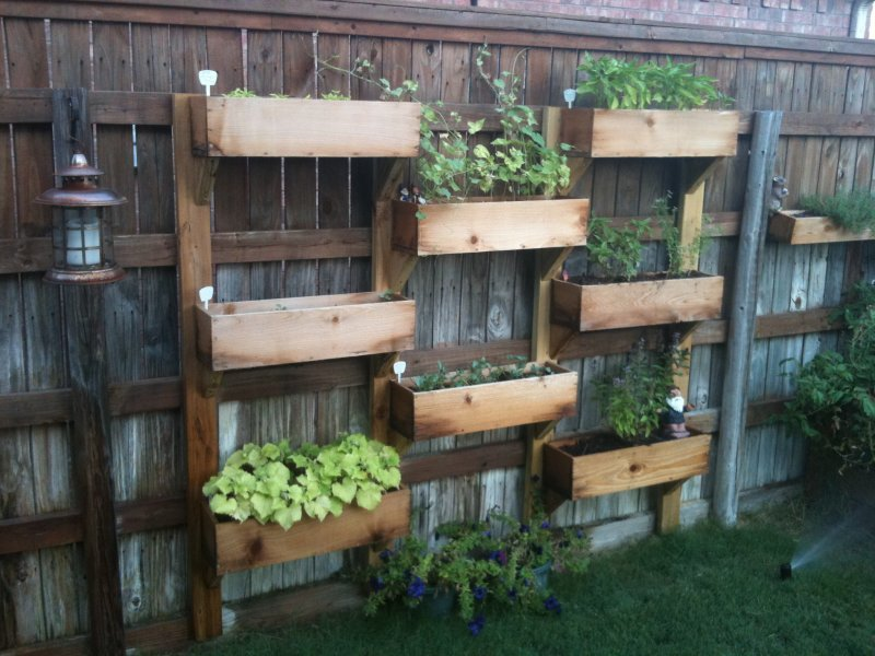 Vertical Wood Box Planters
