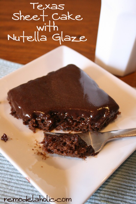 Texas Sheet Cake Frosted With a Nutella Glaze
