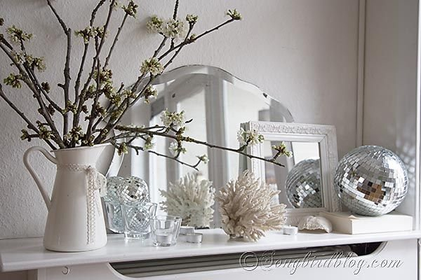 Sparkly Spring Mantel