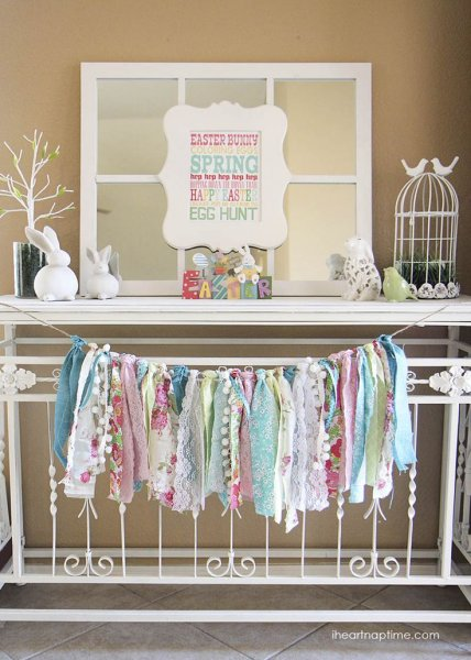 Colorful Rag Garland Mantel