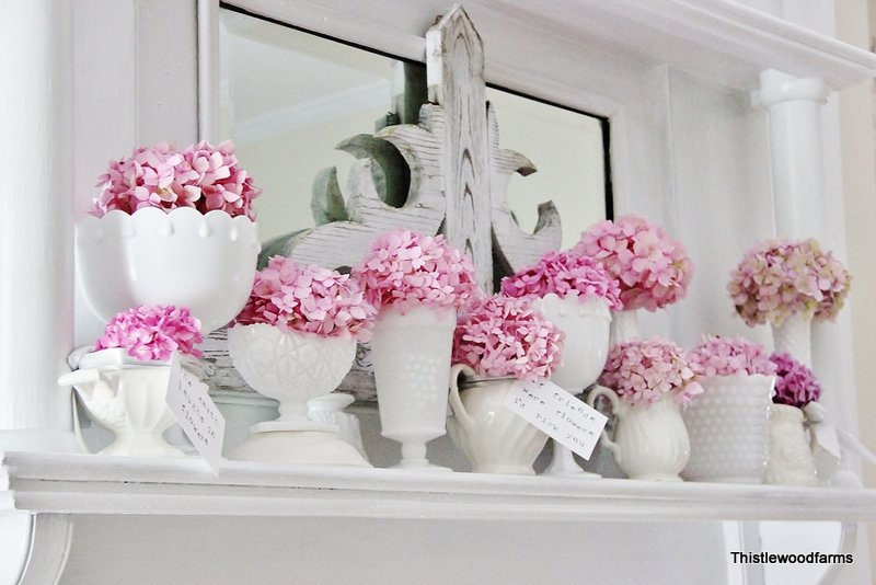 Pink Hydrangeas Mantel