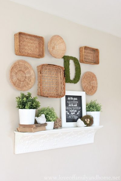 Spring Mantel with Baskets