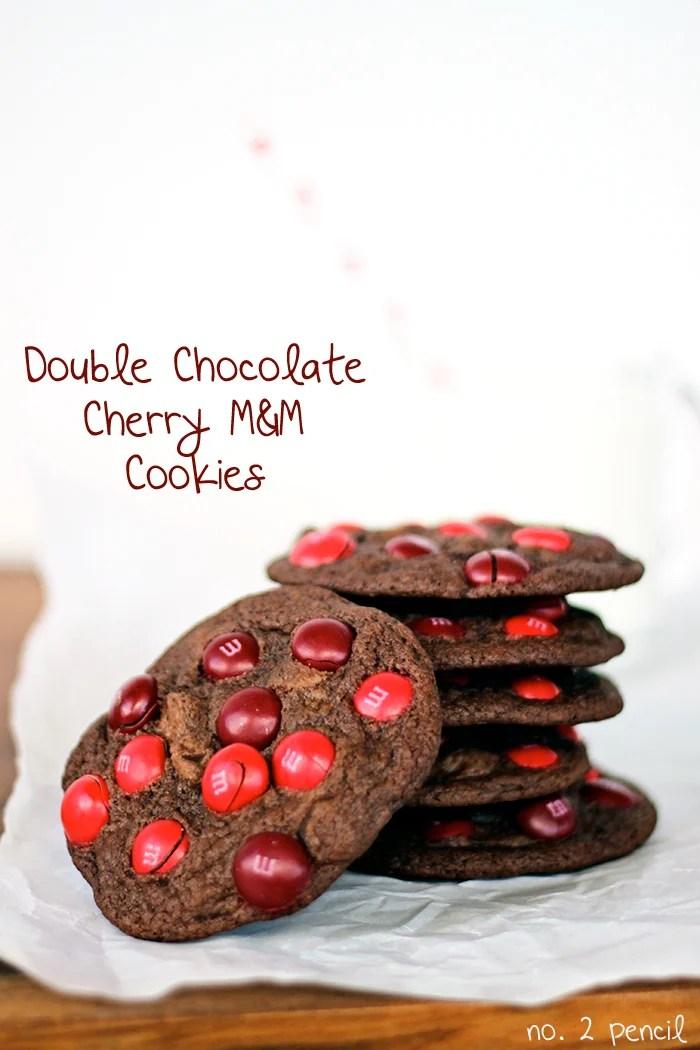 Double Chocolate Cherry M&M Cookies