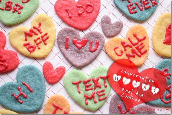 Kool Aid Conversation Heart Cookies