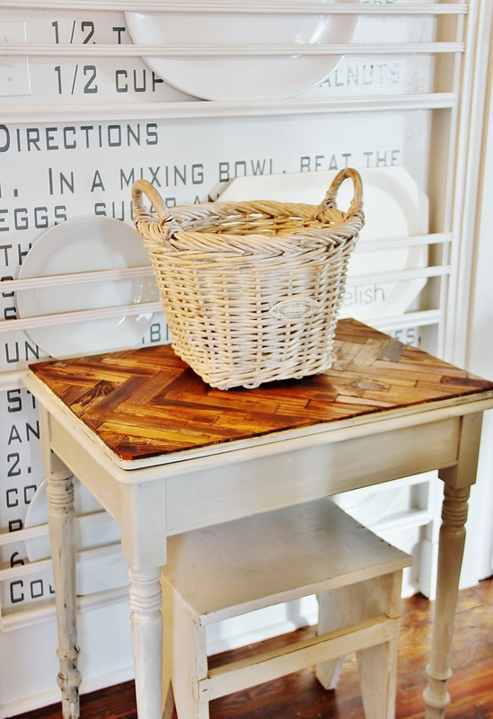 Paint Stick Herringbone Table Top