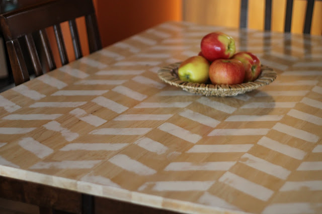 Painted Herringbone Dining Table