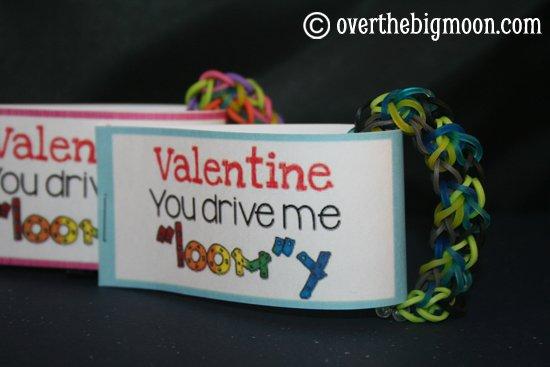 Valentine, you drive me LOOM-y bracelet tag