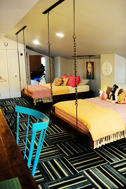 Shared Bedroom with Hanging Loft Beds