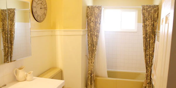 Mustard Yellow Tub And Toilet Updated Bathroom