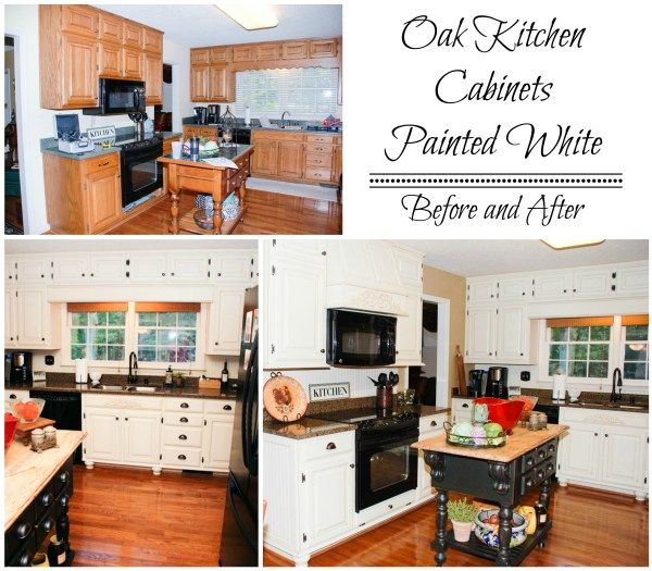 Painted White Oak Cabinets Before and After