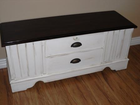 Remodelaholic White Cedar Chest With Dark Stained Top