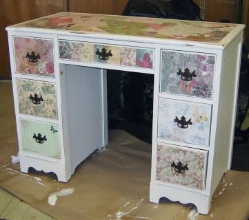 Little Girls Modpodged and Antiqued Desk