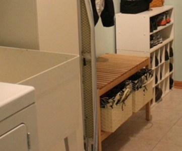 laundry room redo with cabinets and storage
