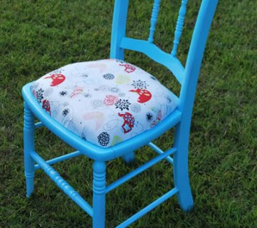 refinished wood chair painted blue