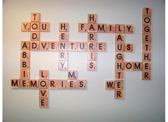 DIY scrabble letter tiles family words from reader Abbie tutorial by @Remodelaholic