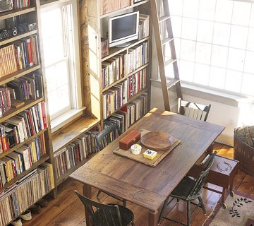 Floor-to-ceiling-bookcases-farmhouse-style-rustic