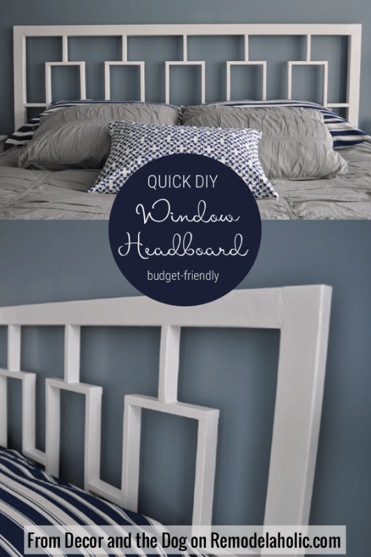 DIY Window Headboard tutorial, Budget Friendly, West Elm Knockoff, #Remodelaholic