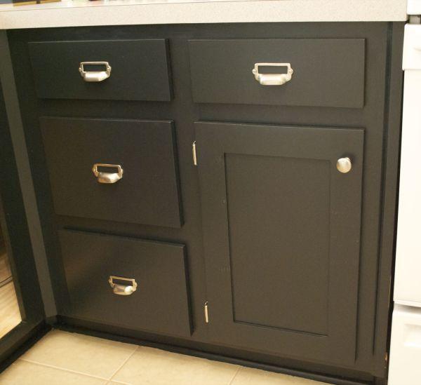 kitchen remodel black base cabinets bead baord backsplash open shelves dining room makeover (5)