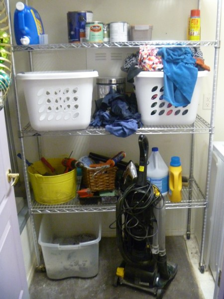 Beautiful Blue Laundry Room Makeover Laundry storage (2)