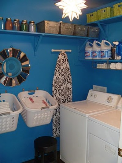 Beautiful Blue Laundry Room Makeover Laundry storage (4)