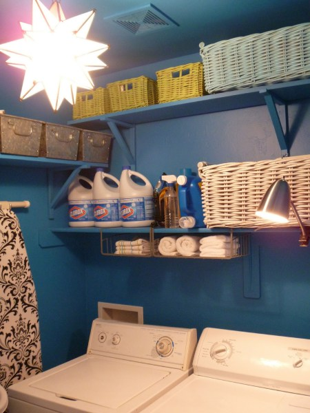 Beautiful Blue Laundry Room Makeover Laundry storage (7)
