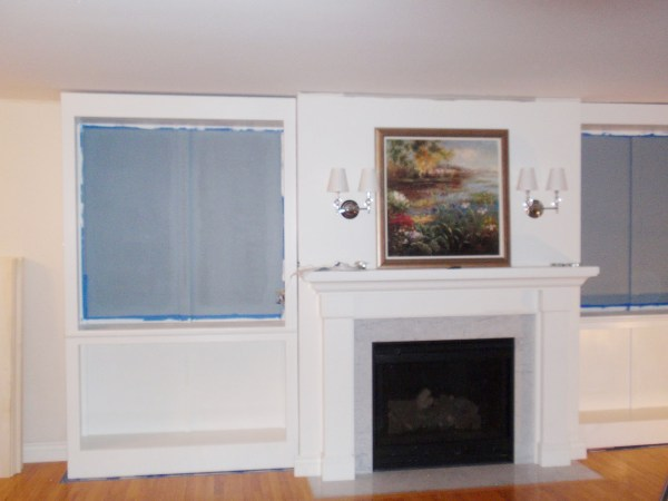 Living Room Remodel, Adding a Fireplace and Built in Bookshelves (10)
