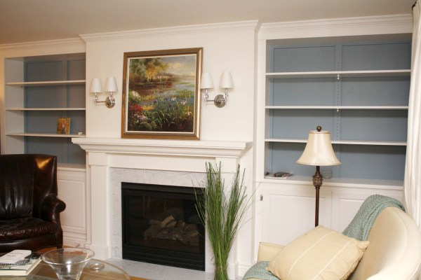 Living Room Remodel, Adding a Fireplace and Built in Bookshelves (12)
